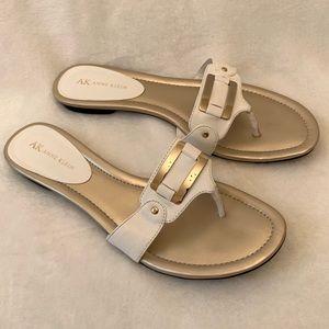 Anne Klein White and Gold Flip Flops -  size 9 1/2